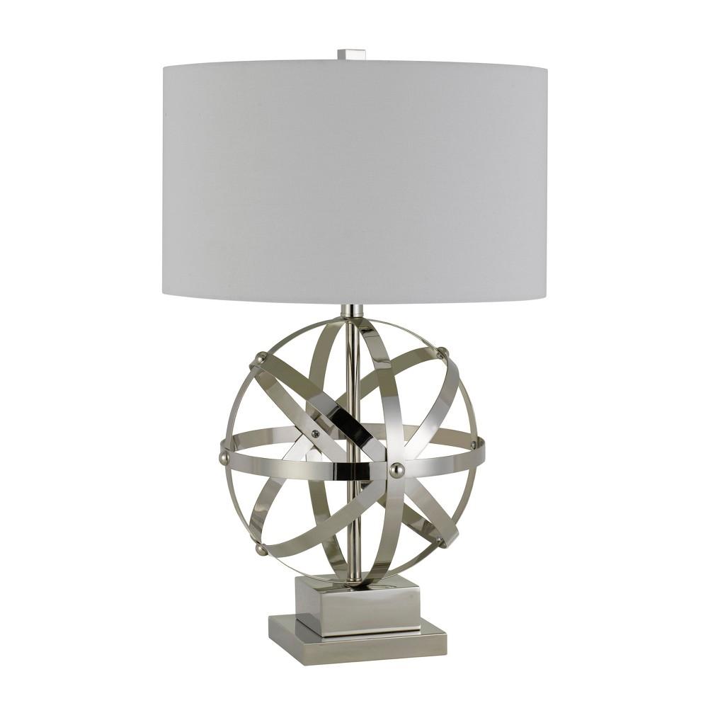 3 Way Vittoria Metal Table Lamp Silver/White 6.8