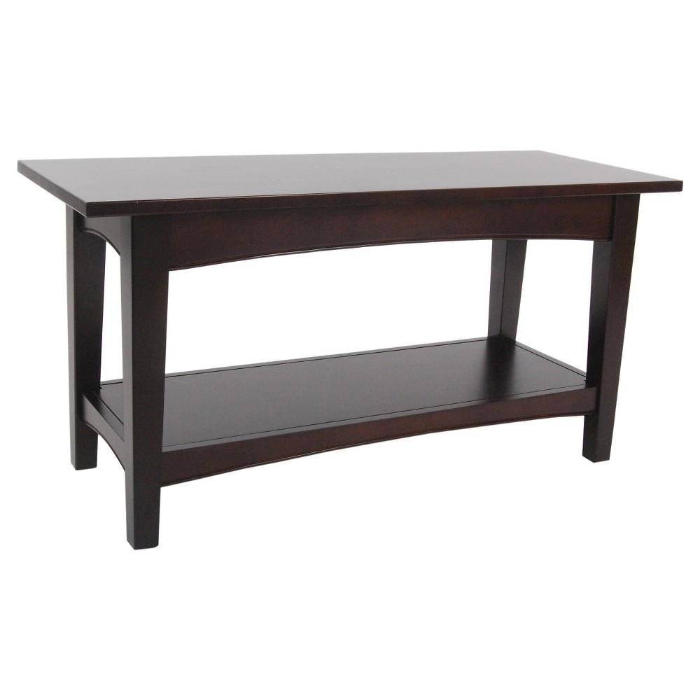 "Image of ""36"""" 1-shelf Bench with Shelf Hardwood Coffee - Alaterre Furniture, Brown"""