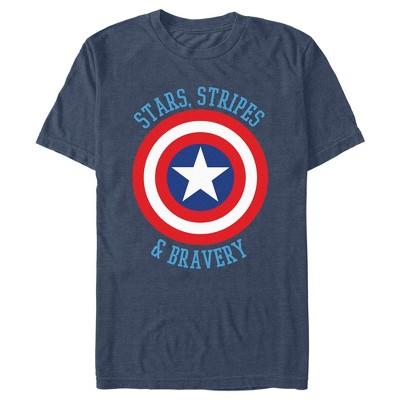 Men's Marvel Avengers Captain America Stars Stripes & Bravery T-Shirt