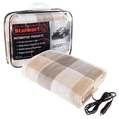 Fleming Supply Heated Polar Fleece Electric Car Blanket - Gray Plaid