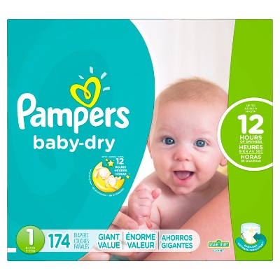 Pampers Baby Dry Diapers Giant Pack Size 1 (174 ct)