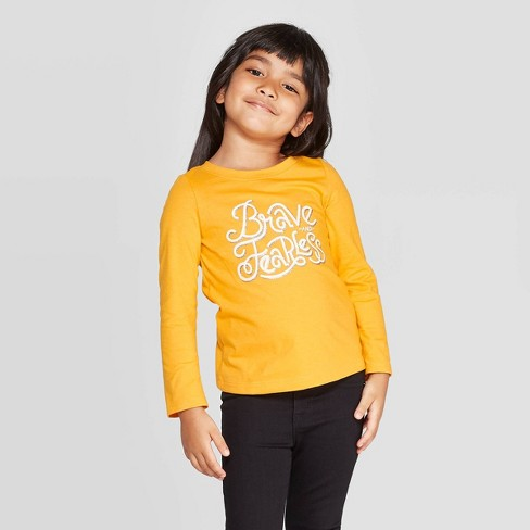 Toddler Girls' Long Sleeve 'Brave & Fearless' T-Shirt - Cat & Jack™ Yellow - image 1 of 3