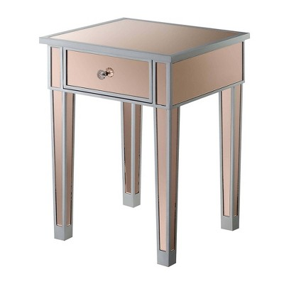 Gold Coast Mirrored End Table with Drawer Silver/Rose - Breighton Home