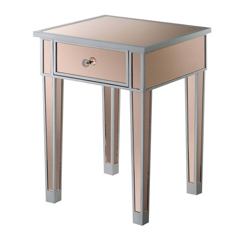 Gold Coast Mirrored End Table With, Target Mirror Table With Drawer