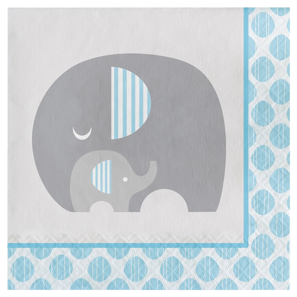 16ct Little Peanut Boy Elephant Napkins, Blue