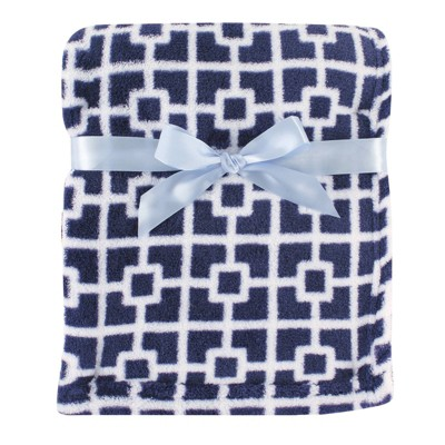 Luvable Friends Unisex Baby Coral Fleece Blanket - Navy Trellis One Size