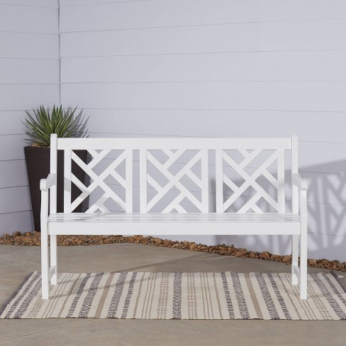 Fabulous Vifah Bradley Outdoor Wood Bench White Andrewgaddart Wooden Chair Designs For Living Room Andrewgaddartcom
