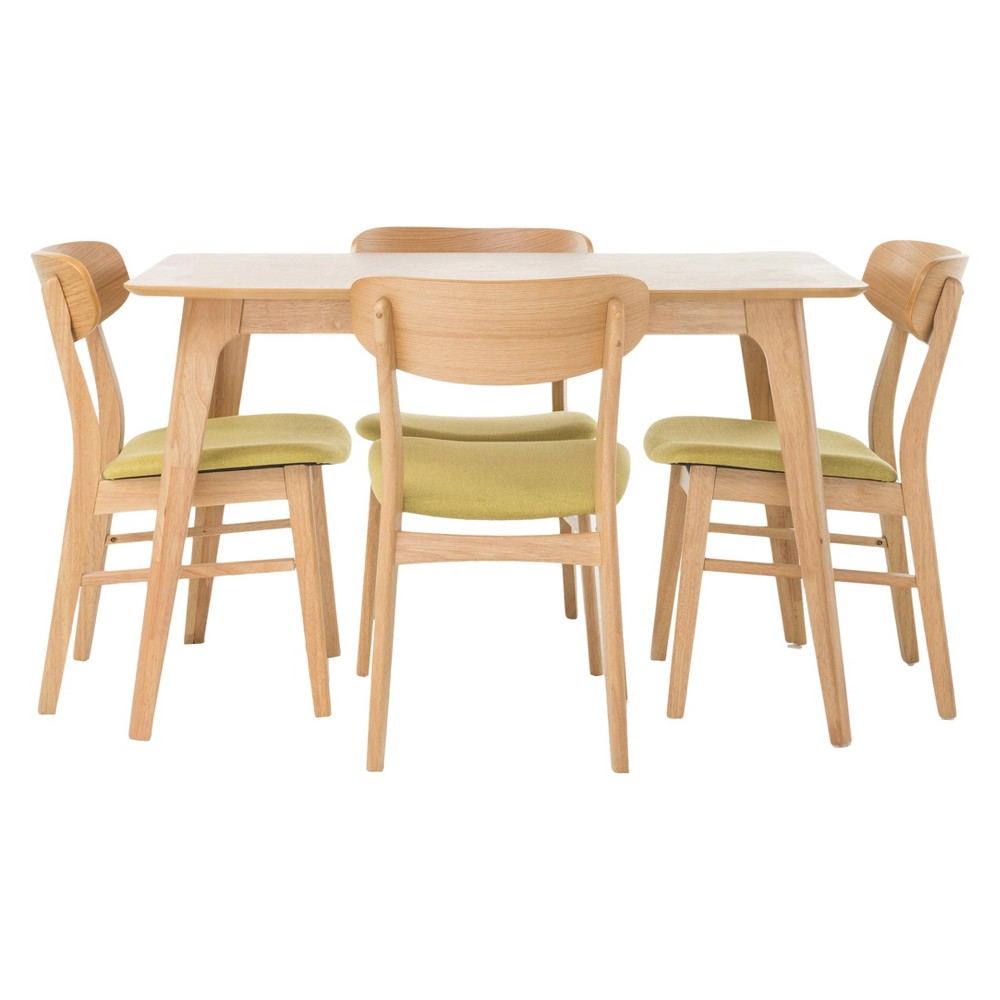 Lucious 5 Piece Dining Set - Natural Oak/Green Tea - Christopher Knight Home, Green Tea/Brown