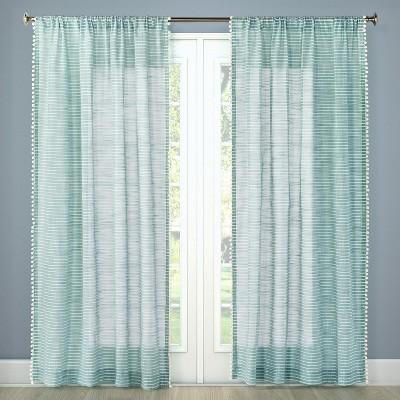 Pom Stripe Window Sheer Aqua (54 x84 )- Threshold™