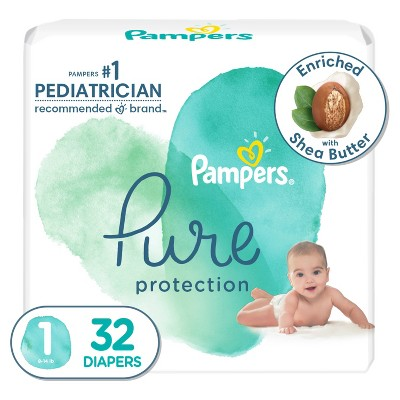 Pampers Pure Protection Diapers Jumbo Pack - Size 1 - 32ct