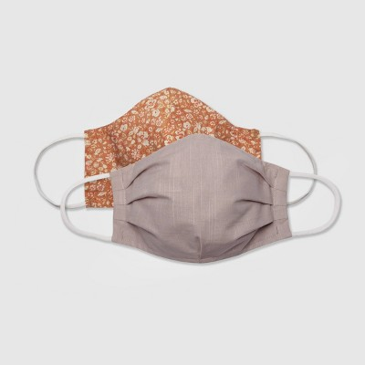 Women's 2pk Fabric Face Masks -  Universal Thread™ Rose Solid/Apricot Floral L/XL