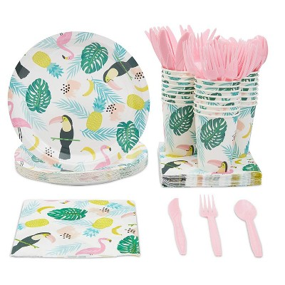 Sparkle and Bash 144-Piece Serves 24 Tropical Party Supplies - Disposable Plates, Cups, Napkins, Utensils
