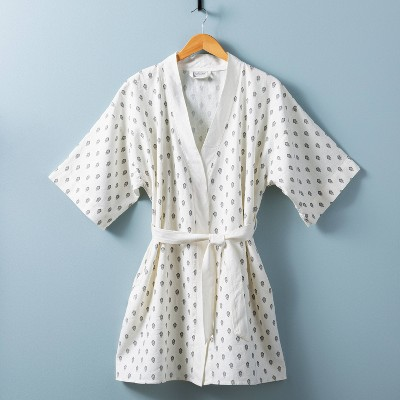 Women's Floral Print Robe White/Gray - Hearth & Hand™ with Magnolia