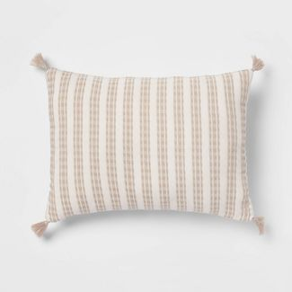 Oblong Woven Textured Decorative Throw Pillow White/Natural - Threshold™