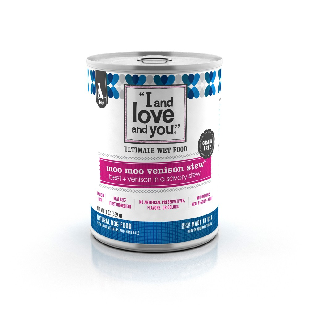 I and Love and You Moo Moo Venison Stew Beef + Venison Wet Dog Food - 13oz/12pk