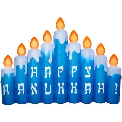 Gemmy Airblown Hanukkah Candles Scene, 6.5 ft Tall, Multicolored