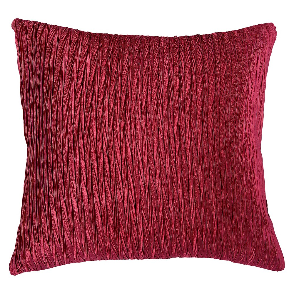 "Image of ""Maroon (Red) Solid Textured Throw Pillow 18""""x18"""" - Rizzy Home"""