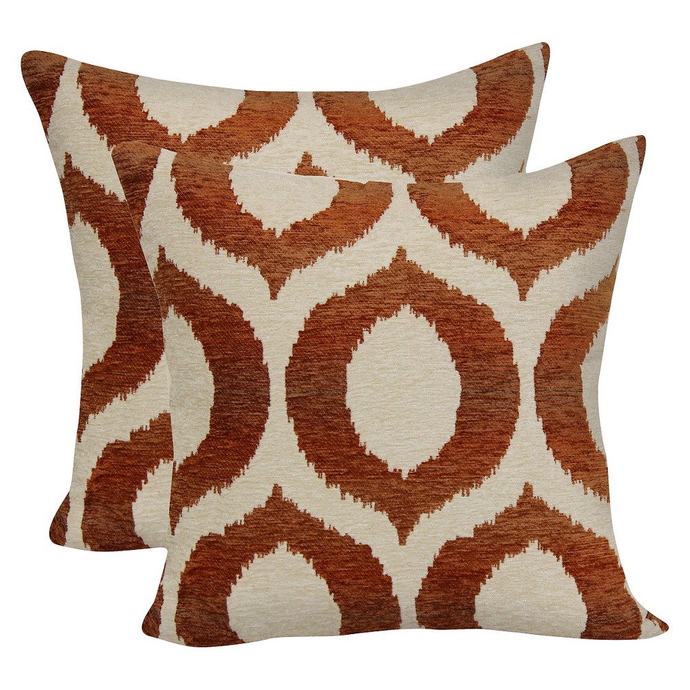 "Image of ""Juicy Guava Ogee Jacquard Throw Pillow with Suede Back (18""""x18"""") - Brentwood"""