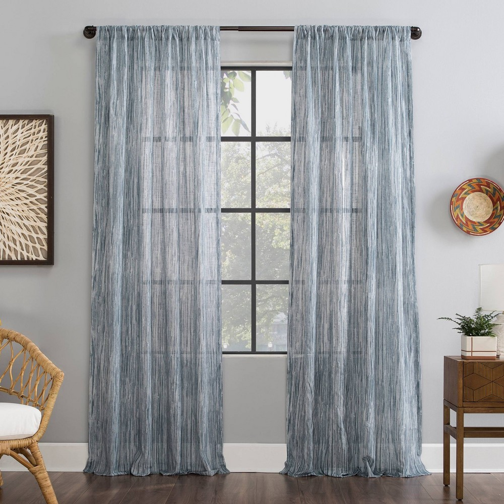"Image of ""50""""x84"""" Bamboo Stripe Cotton Sheer Curtain Blue - Archaeo, Size: 50""""x84"""""""