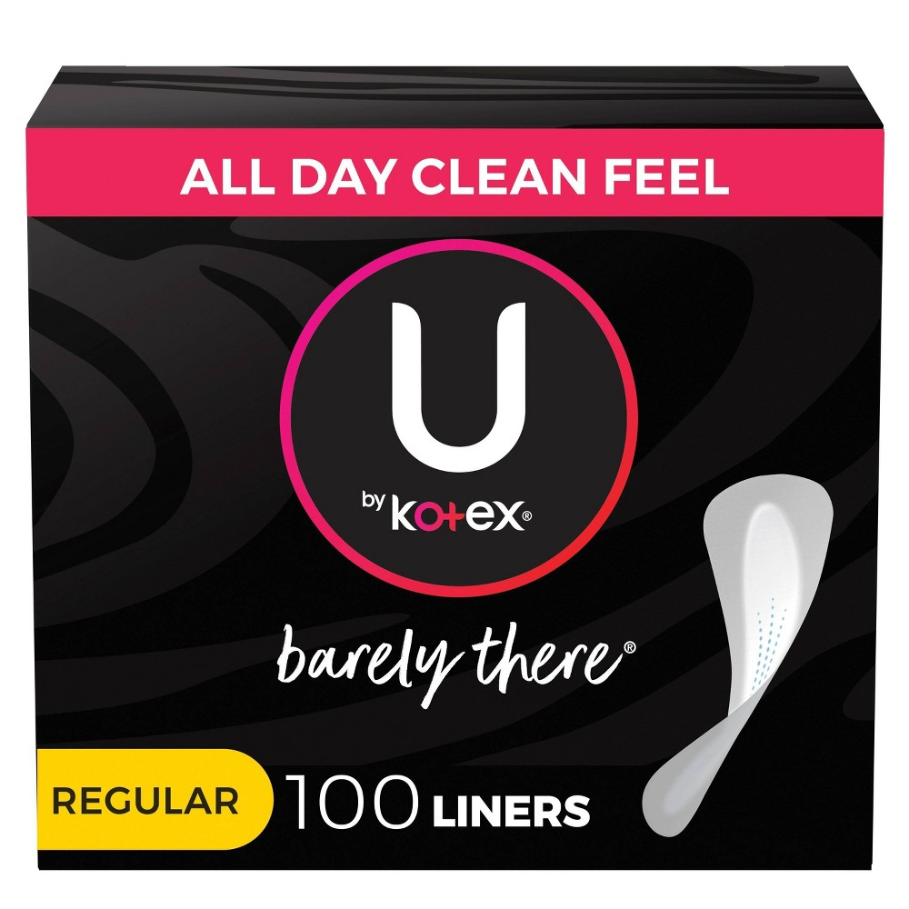 U By Kotex Barely There Unscented Panty Liners Light Absorbency Regular Length 100ct