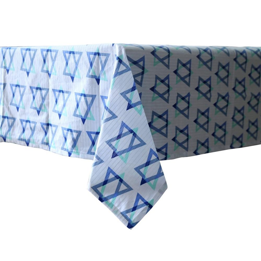 Image of Hanukkah Star of David Print Lurex Stripe Tablecloth, White