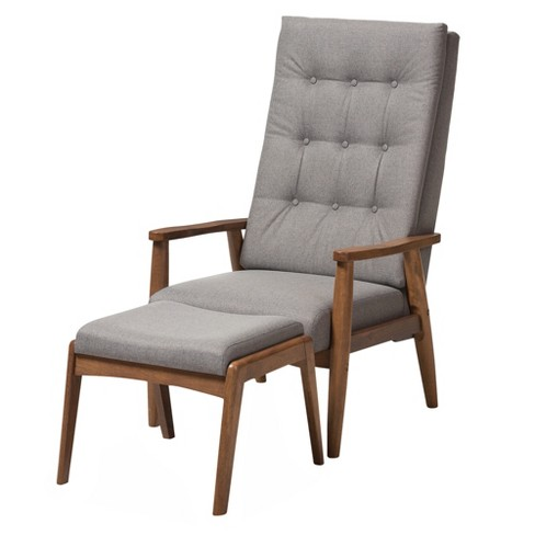 Roxy Mid Century Modern Wood Finish And Fabric Upholstered On Tufted High Back Lounge Chair Ottoman Set Baxton Studio