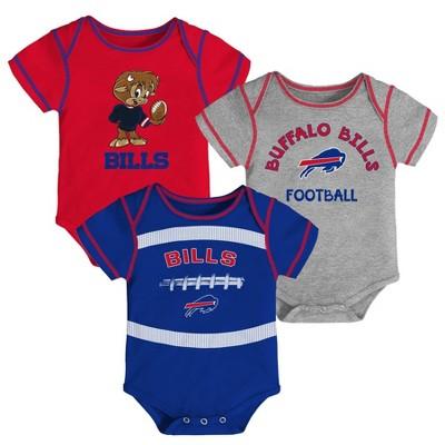 NFL Buffalo Bills Baby Boys' Newest Fan 3pk Bodysuit Set - 6-9M