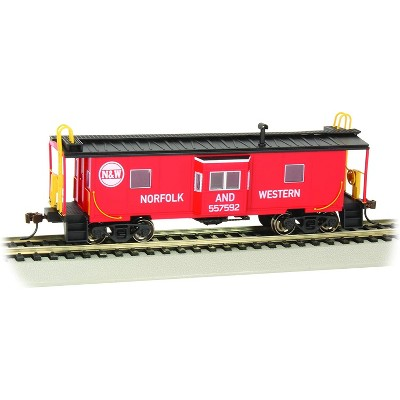 Bachmann Trains 73208 Norfolk & Western Bay Window Caboose with Roof Walk 1:87 HO Scale w/ Blackened Brass Axels and Wheels with E-Z Mate Couplers
