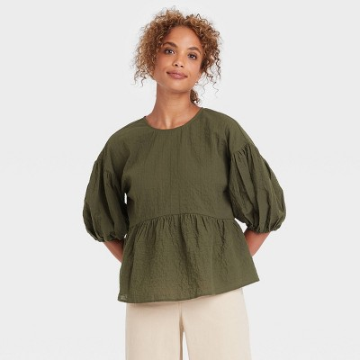 Women's Puff 3/4 Sleeve Top - A New Day™