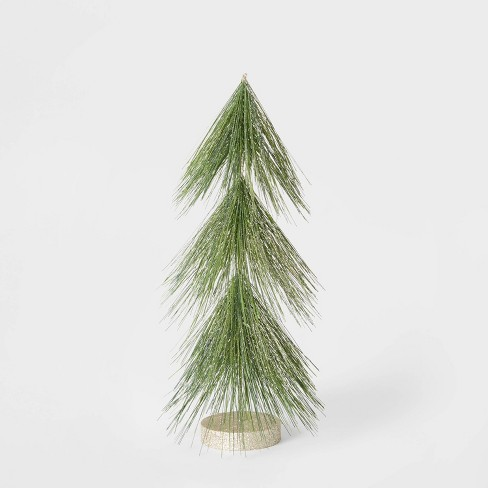 15in Unlit Tinsel Christmas Tree Decorative Figurine Green with Gold - Wondershop™ - image 1 of 2