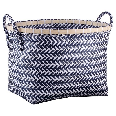 Medium Oval Woven Bin Navy And White Pattern   Room Essentials™ : Target