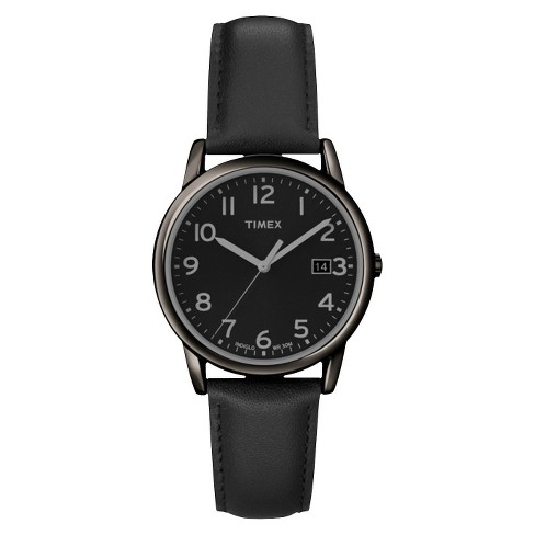 c75d4c18a Men's Timex Watch With Leather Strap - Black T2N947JT : Target