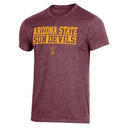 NCAA Arizona State Sun Devils Men's Short Sleeve Crew Neck Maroon & Gold T-Shirt