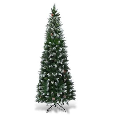 Costway 7.5ft Snow Flocked Pencil Christmas Tree Hinged Pine Cones