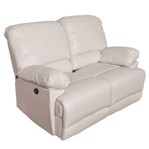 Leather Power Reclining Loveseat With Usb Port White Corliving