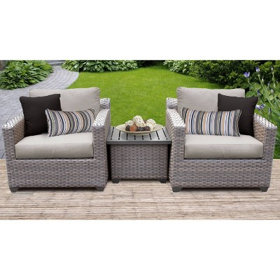 Florence 3pc Outdoor Seating Group with Cushions - Ash - TK Classics