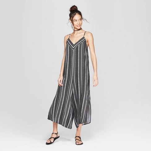 c1c78acdfb27 Women s Striped Strappy V-Neck Waistless Cropped Jumpsuit - Xhilaration™  Black White