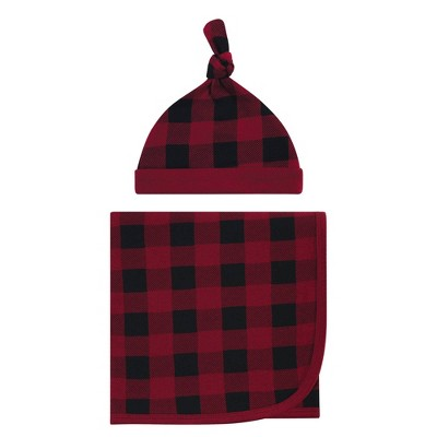 Touched by Nature Unisex Baby Organic Cotton Swaddle Blanket and Headband - Buffalo Plaid One Size