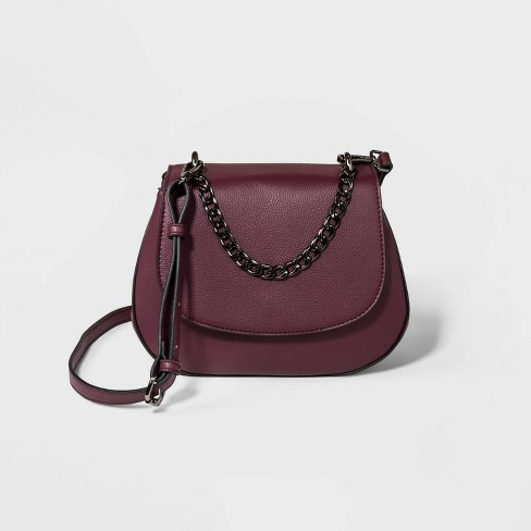 Saddle Crossbody Bag With Chain - A New Day™ Burgundy - image 1 of 3
