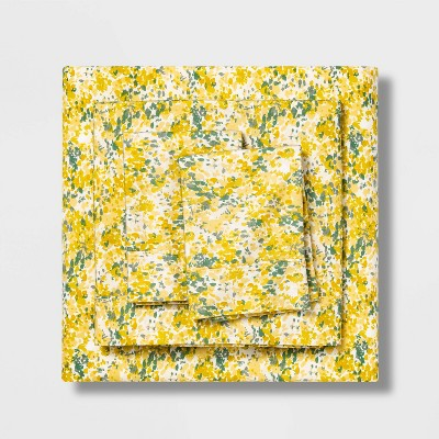 Queen 300 Thread Count Organic Cotton Printed Sheet Set Watercolor Floral - Threshold™