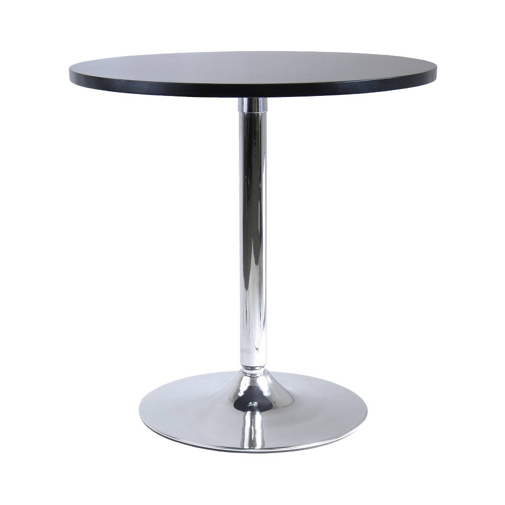 Image of Spectrum Round Dining Table with Metal Base Wood/Black - Winsome