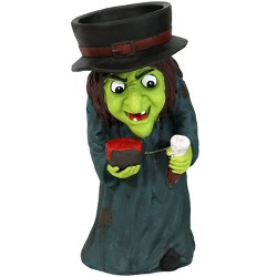 "28"" Witch Statue with Built-In Candy  Dish - Sunnydaze Decor"