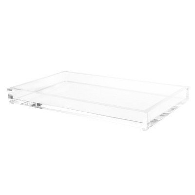 Hastings Home Decorative Acrylic Catchall Tray for Bedroom, Bathroom, and Office Storage - Clear
