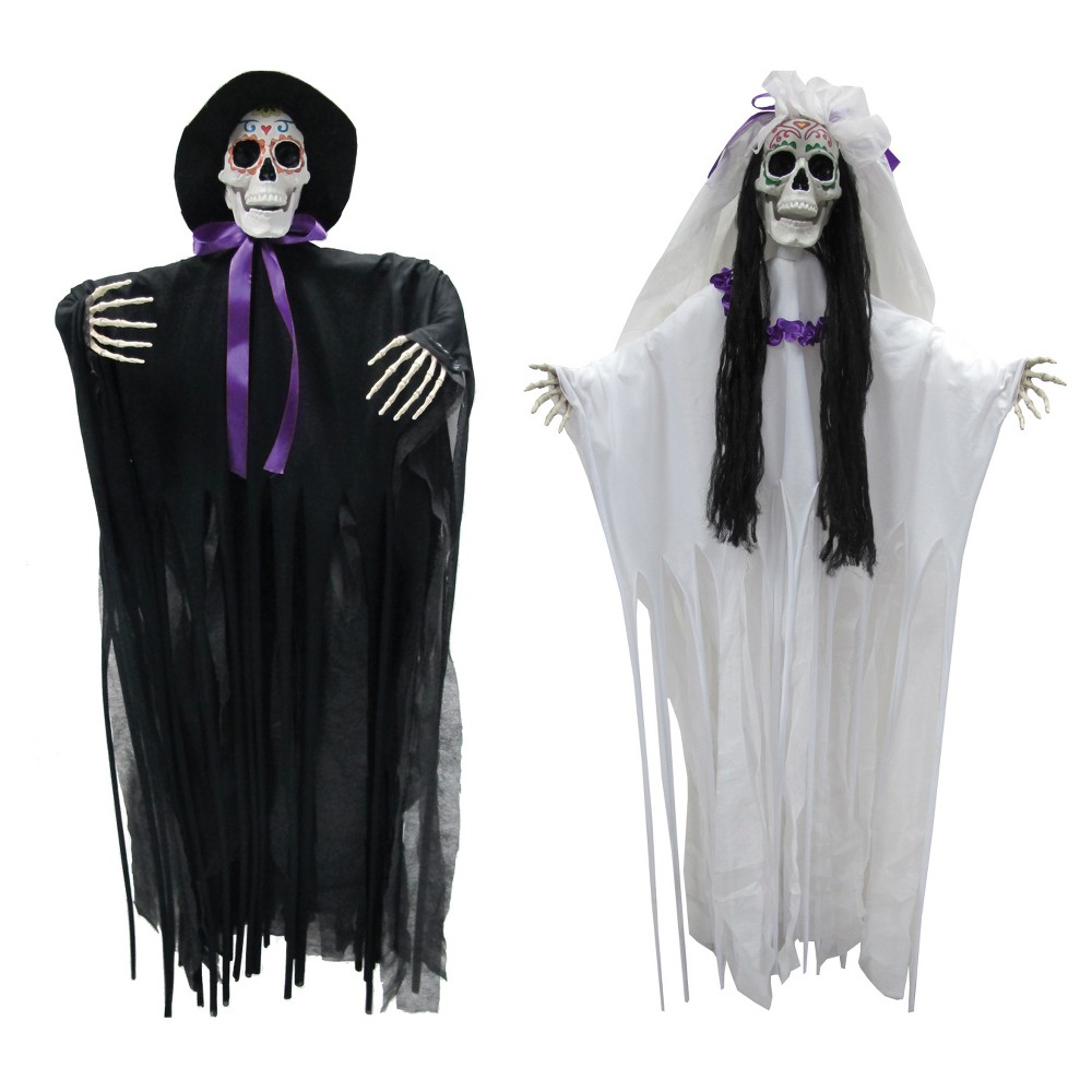Halloween Dod Bride And Groom Set Of 2, Multi-Colored