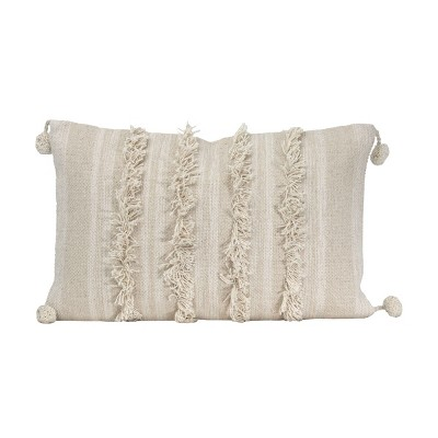 """White Striped Hand Woven 14x22"""" Cotton Decorative Throw Pillow with Hand Tied Fringe and Pom Poms - Foreside Home & Garden"""