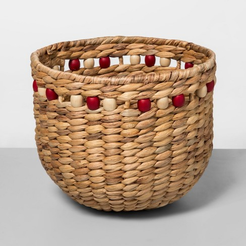 """9.4"""" x 8"""" Water Hyacinth Beaded Woven Basket Natural/Red - Opalhouse™ - image 1 of 1"""