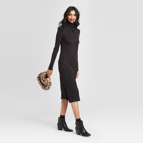 Women's Long Sleeve Mock Turtleneck Rib Knit Midi Dress - A New Day™ - image 1 of 3