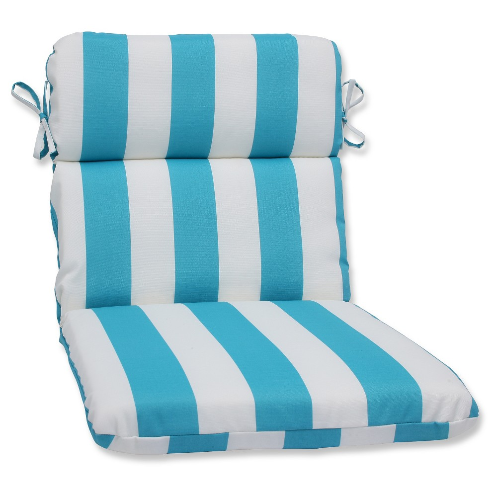 Pillow Perfect Cabana Stripe Outdoor Rounded Edge Chair Cushion - Blue