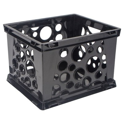 Storex Mini Stackable Storage Crate 3ct - Black