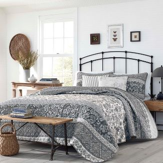Full/Queen Abbey Quilt Set Gray - Stone Cottage